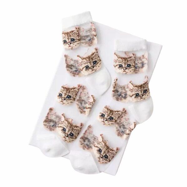 Sexy cat sokken wit